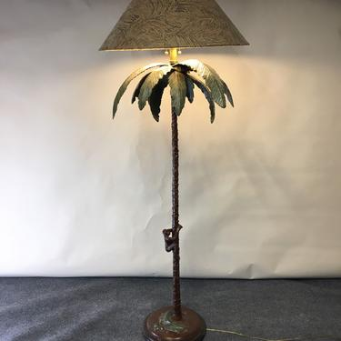 Vintage Hollywood Regency palm tree with monkey floor lamp by Frederick Cooper of Chicago by CurbsideSalvageLLC