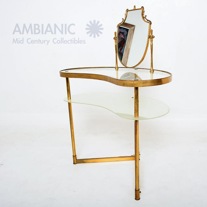 Italian Gold Vanity Table with Vanity Mirror Sculptural Style Fontana Arte 1940s by AMBIANIC