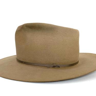 Vintage 1950s L&M Western Store Cowboy Hat ~ size 7 ~ Fur Felt Fedora ~ Wide Brim ~ by SparrowsAndWolves