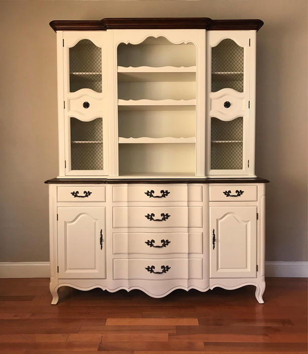 Available White Vintage French Provincial China Cabinet Kitchen