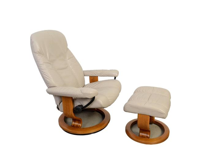 Leather Ekornes Stressless Reclining Chair & Ottoman Norway Danish Modern by HearthsideHome
