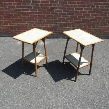 A Pair English 1890 Bamboo And Faux Sharkskin Tables Night Stands by LarkinsAtticHUDSONNY