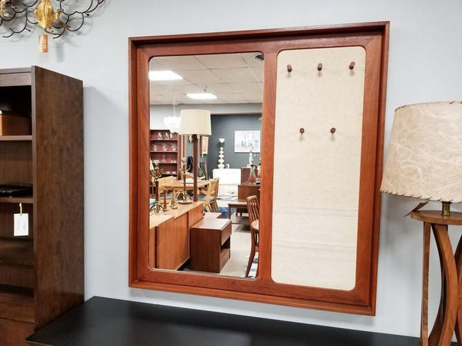Danish Modern large teak entry / wall mirror with hooks and mail storage