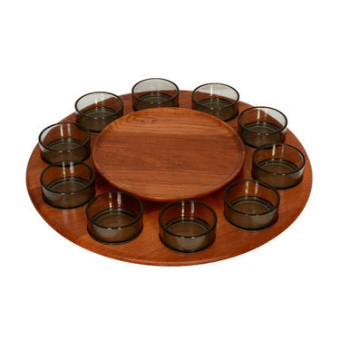 Digsmed Teak Lazy Susan Serving Tray with 10 glass bowls Denmark 1970 by HearthsideHome