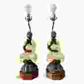 Chapman Pair of Ceramic Table Lamps of Sitting Buddhas on a rosewood base
