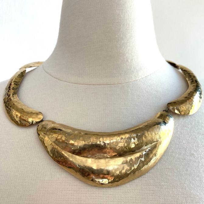 70's Vintage HAMMERED STATEMENT BIB Necklace / Modernist Collar Style / Brass Gold Tone by CharmVintageBoutique