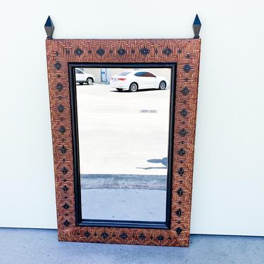 Island Chic Rattan Wrapped Mirror