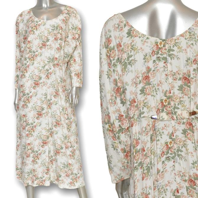 Vintage 90's Floral Print Maxi Dress Loose Fit Cream Long Dress by TheUnapologeticSoul