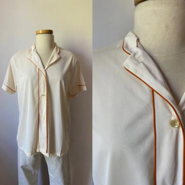 70s Button Up with Orange Piping by DiscoLaundryVintage