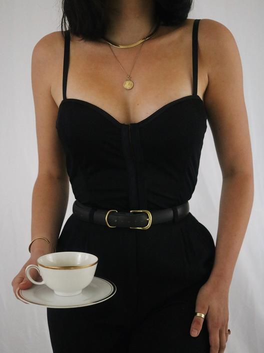 Vintage Black Bustier Lace Up Corset Top - by LadyLVintageCo