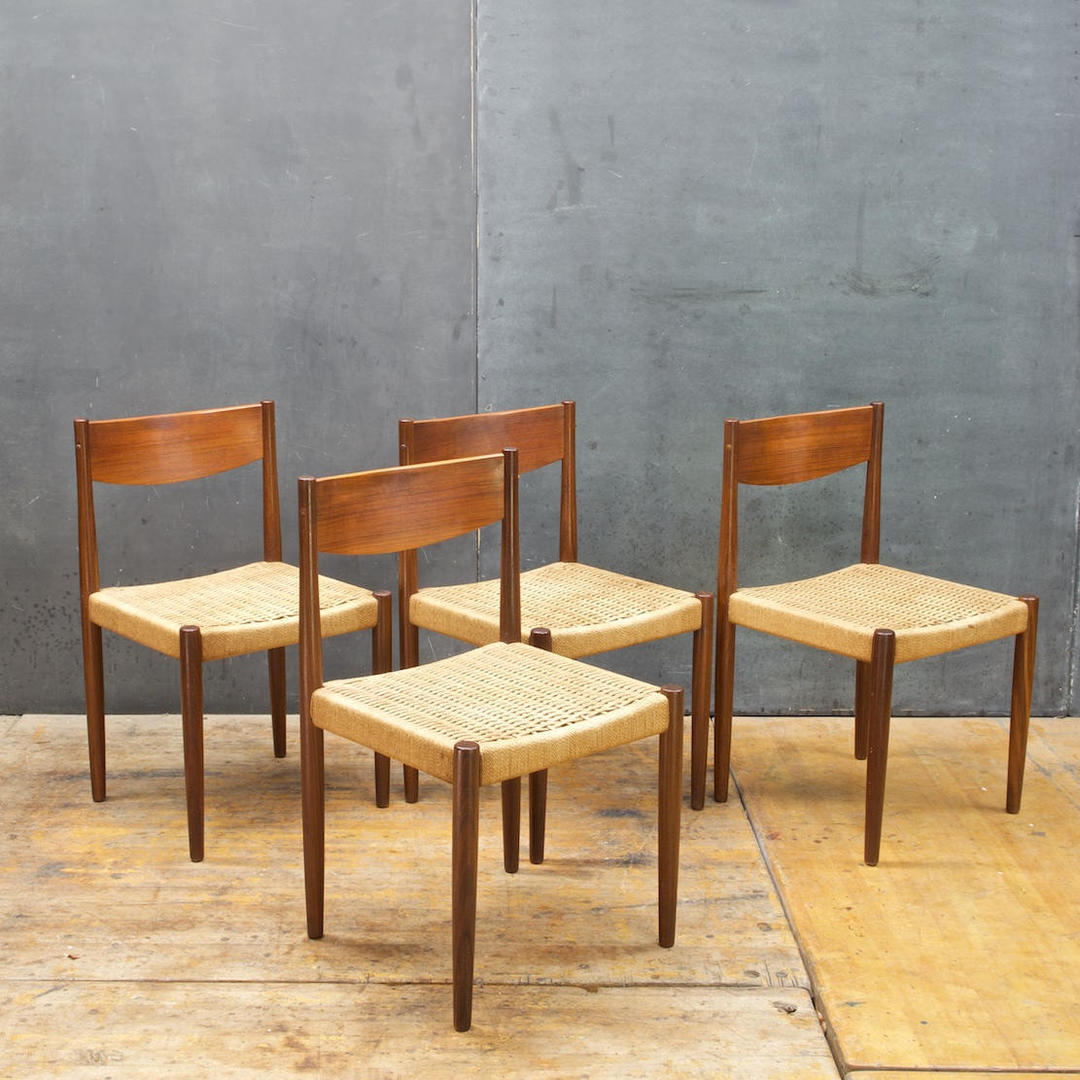 Vintage Danish Teak Rope Cord Dining Chairs Mid Century