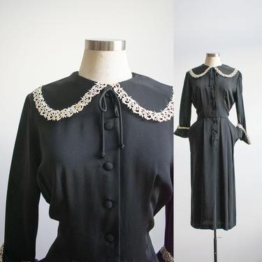 Vintage Black Cocktail Dress / 1940s Cocktail Dress / 1950s Black Cocktail Dress / Little Black Vintage Dress Small / 1950s Black Dress S by milkandice
