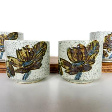 Set of 4 Otagiri Stoneware Tea Cups From Japan, Yunomi Style Green Tea Pottery Cups by HerVintageCrush