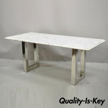 Modern Italian Marble Chrome Double Pedestal Base Rectangular Coffee Table