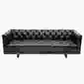 Ward Bennett Elegant Tufted Leather Sofa 1970s (Signed)
