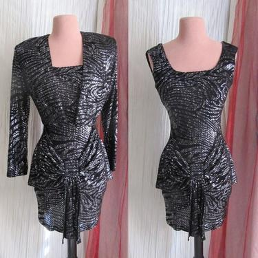 Black Shimmer Cocktail Dress, Bolero, 2-pc, Italy, Cache, Vintage 90s by GabAboutVintage