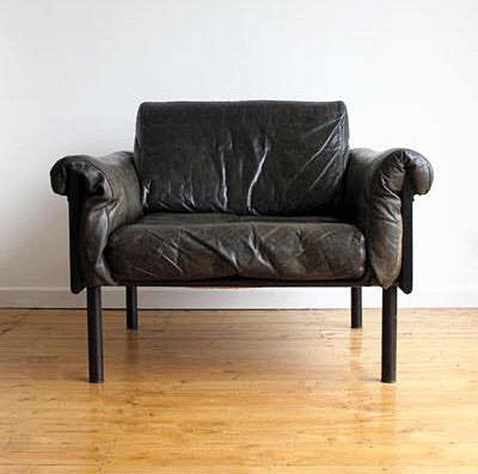 Ateljee Black Leather Lounge Chair Yrjo Kukkapuro Haimi Vintage Mid Century Modern Mad Men Oak