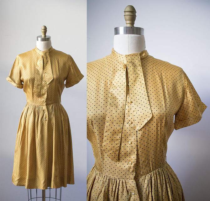 Vintage Gold Dress / Polka Dot Dress / 1950s Silk Shirt Dress / Tie Top Dress / Shirt Dress / Gold and Black Dress by milkandice