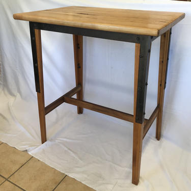 Free Shipping within US - Custom Made Vintage Solid Maple Butcher Block Table With Ornate Metal Details by BigWhaleConsignment