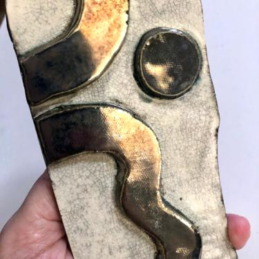 """Unique Abstract Ceramic Wall Art Plaque with crackle and metallic silver glaze, 3"""" W x 8"""" H by MadCoolNYC"""