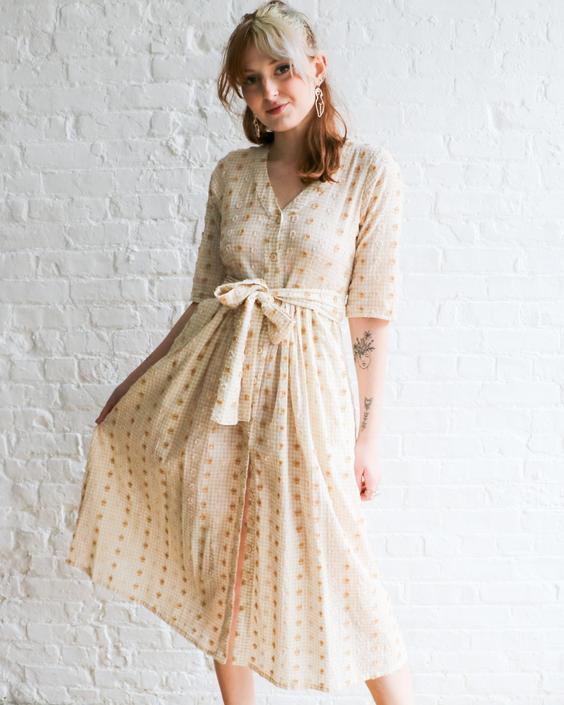 Ace & Jig Metallic Embroidered Dress, Size XXS