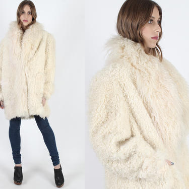 Curly Tibetan Lamb Fur Coat Long Ivory Mongolian Oversized Real Fur Coat Vintage 80s Cream Shaggy Unisex Womens One Size Runway Jacket by americanarchive