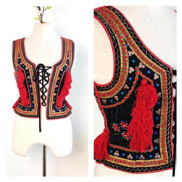 Vintage Polish Vest Krakow Heritage Ethnic Dance Costume Boho Bohemian Fringe Bustier Corset Velvet Hand Beaded Decorative Lace Up Top by KeepersVintage
