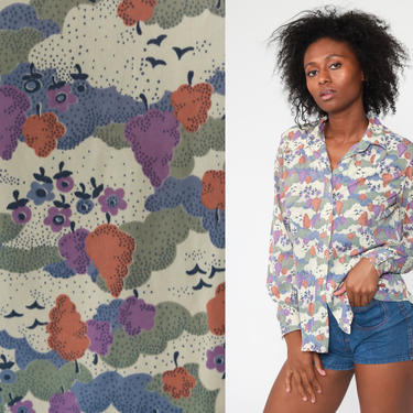 70s Nature Shirt TREE Shirt 70s Boho Disco Top Bird Shirt Novelty Print Blouse Hippie 1970s Vintage Long Sleeve Button Up Medium Large by ShopExile