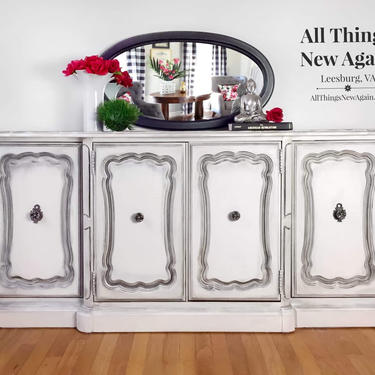White Buffet | White Sideboard | White Credenza | Vintage Bassett Furniture Buffet | Media Console | Buffet Painted White with Black Top by AllThingsNewAgainVA
