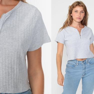Y2K Crop Top Grey Zip Up Shirt Cropped Blouse Short Sleeve Shirt 00s Vintage 90s Plain Basic Ribbed Shirt Small Medium by ShopExile