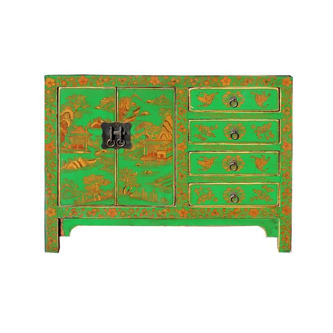 Distressed Green Golden Scenery Butterflies Drawers Storage Cabinet cs5408S
