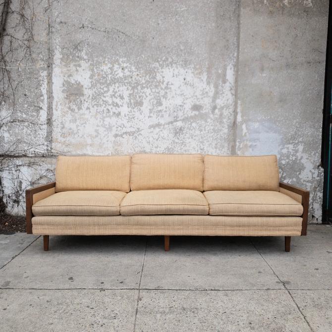 Mid Century Walnut Sofa -as is
