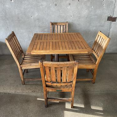 Teak Wood Patio Table & Chairs Set with Iron Base