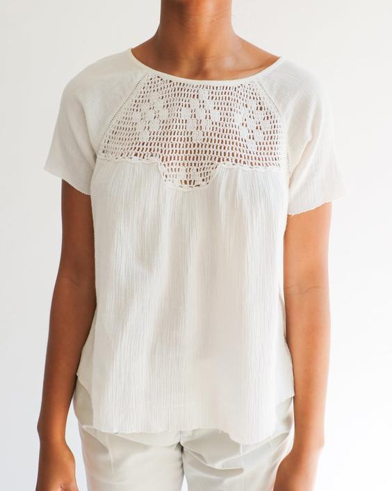 Ulla Johnson Crochet Trim Blouse, Size S