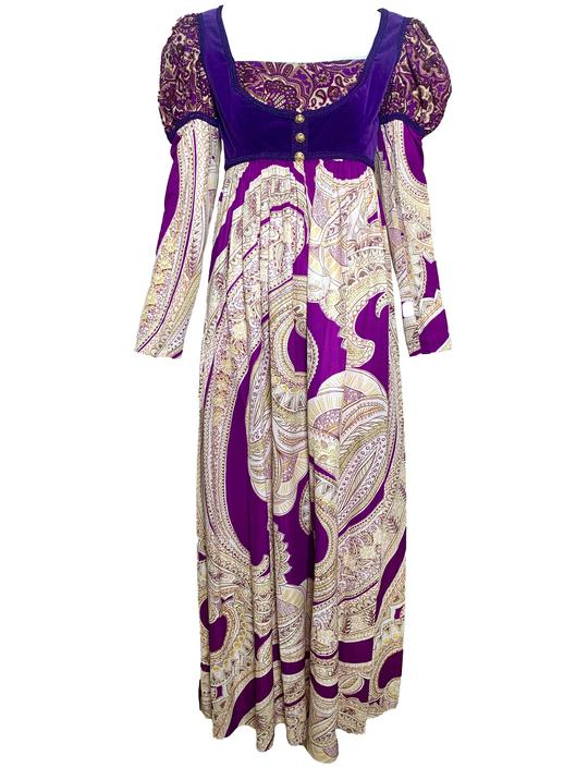 60s Anmar Purple Paisley Medieval Style Maxi Dress