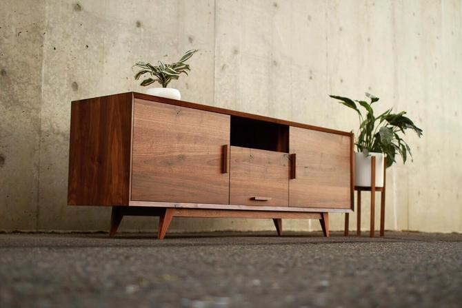 Hein Modern Console, Mid-Century Media Console, Modern Solid Wood Credenza, Modern Sideboard (Shown in Walnut) by TomfooleryWood