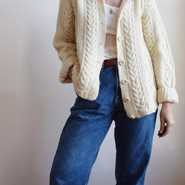Classic 1970s Vintage Cable Knit Cardigan w Darns | L | Natural Wool Fishermans Sweater | Aran Knit by wemcgee