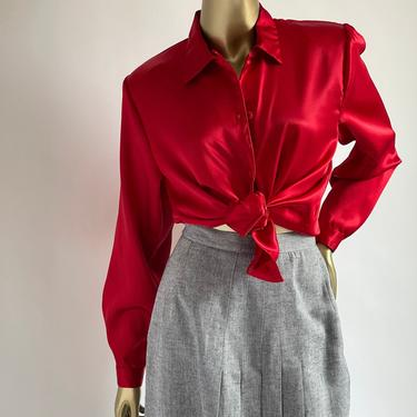 Sexy Red Satin Blouse fits S - L 1980's by BeggarsBanquet