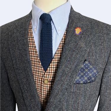 Vintage HARRIS TWEED Wool Blazer ~ 42 R ~ Herringbone ~ jacket / sport coat ~ Preppy / Ivy League / Trad ~ by SparrowsAndWolves