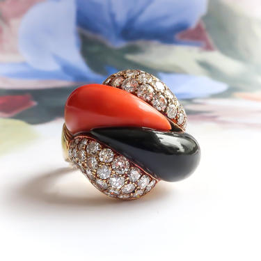 Estate Coral Onyx and Diamond Pave Statement Ring 18K by YourJewelryFinder