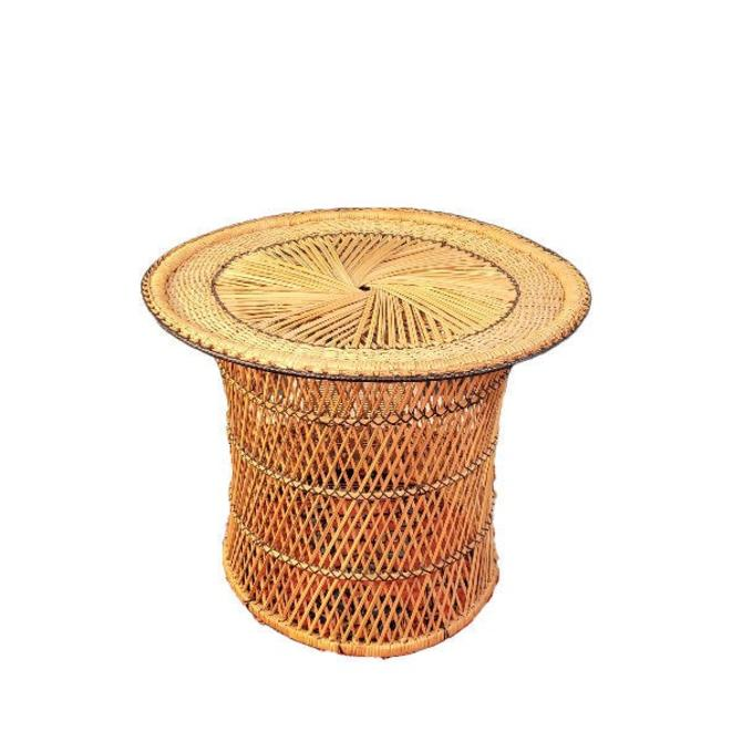 FREE SHIPPING Vintage Boho Wicker Drum Table Black Detail | MCM Barrel Rattan Side Table | Bohemian Barrel Base | Plant Stand Home Decor by SavageCactusCo