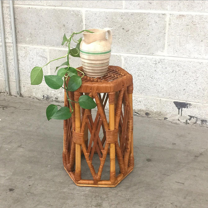 Vintage Plant Stand Retro 1980s Rattan + Hexagon Shape + Bohemian Furniture + End or Side Table + Plant Display + Indoor Stand + Home Decor by RetrospectVintage215