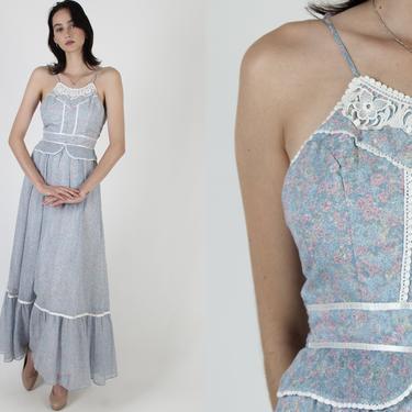 1970s Candi Jones Maxi Dress / Cottagecore Peplum Style  / 1970s Designer Thin Spaghetti Straps/ Calico Romantic Bohemian Wedding by americanarchive