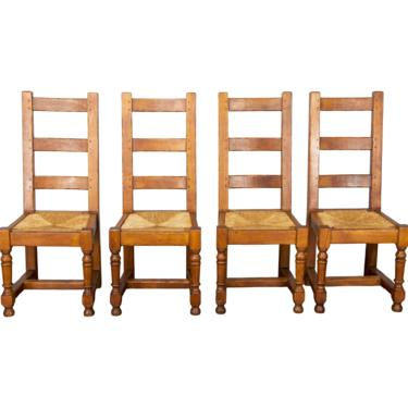 19th Century Set of 4 Country French Farmhouse Ladder Back Oak Dining Chairs by StandOutSpaces