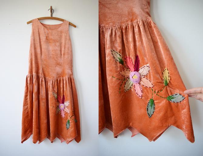 1920s Pumpkin/Peach Velvet Fairy Dress    XXS/XSP by wemcgee
