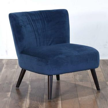Contemporary Navy Art Deco Pleated Back Accent Chair