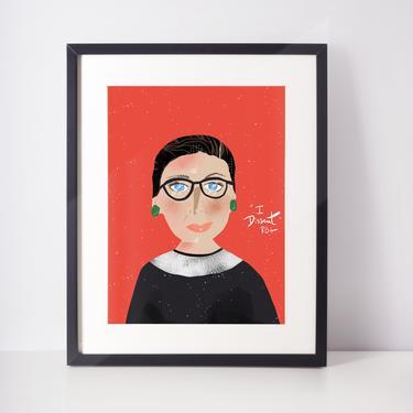 RBG Inspired Cartoon Portrait  Ruth Bader Ginsburg Art Print Wall Art Nursery Art Girl Power Nursery by VioletredStudio