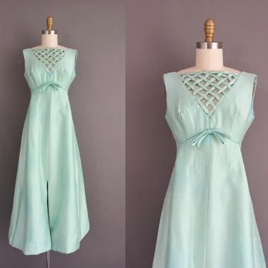 1960s vintage dress | Beautiful Mint Blue Silk Lattice Cocktail Party Bridesmaid Wedding Dress | Medium | 60s dress by simplicityisbliss
