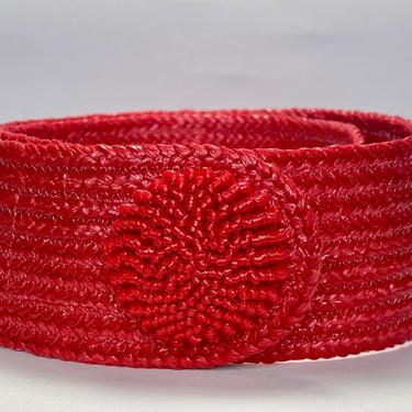 Vintage 1980s Red Woven Belt with Round Buckle by timelesspieces