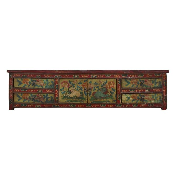 Chinese Orange Tibetan Floral Animal Graphic TV Console Table Cabinet cs5353S